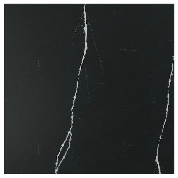 RÅHULT Panel de pared, negro mate/efecto mármol cuarzo, 1 m²x1.2 cm