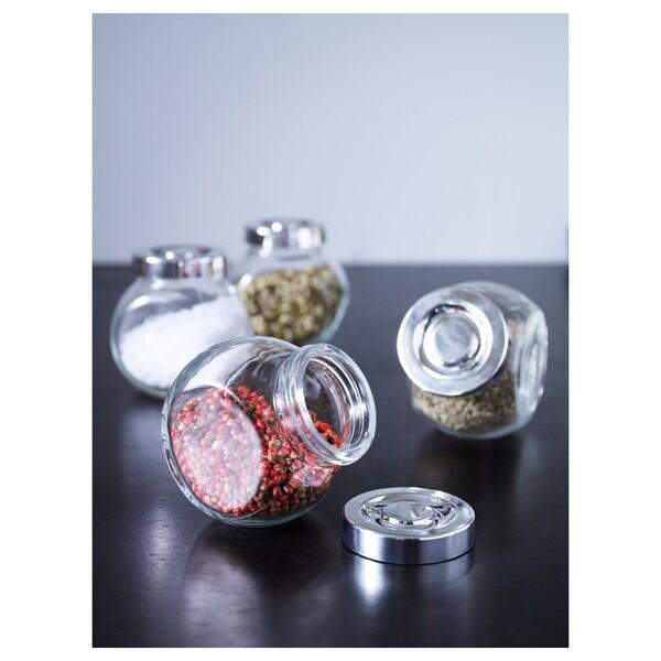 RAJTAN Tarro para especias, vidrio/color de aluminio, 15 cl