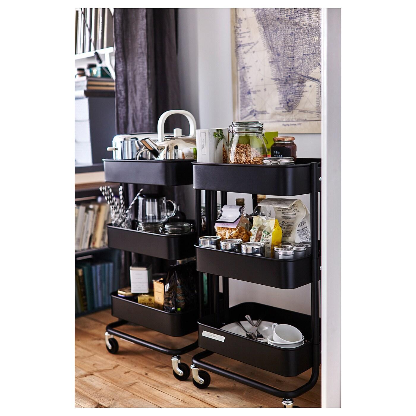 RÅSKOG Carrito negro 35x45x78 cm