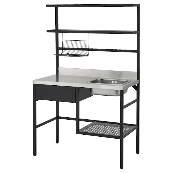 RÅVAROR Minicocina, negro, 112x60x178 cm