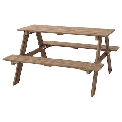 RESÖ Mesa picnic p/niños, tinte marrón grisáceo