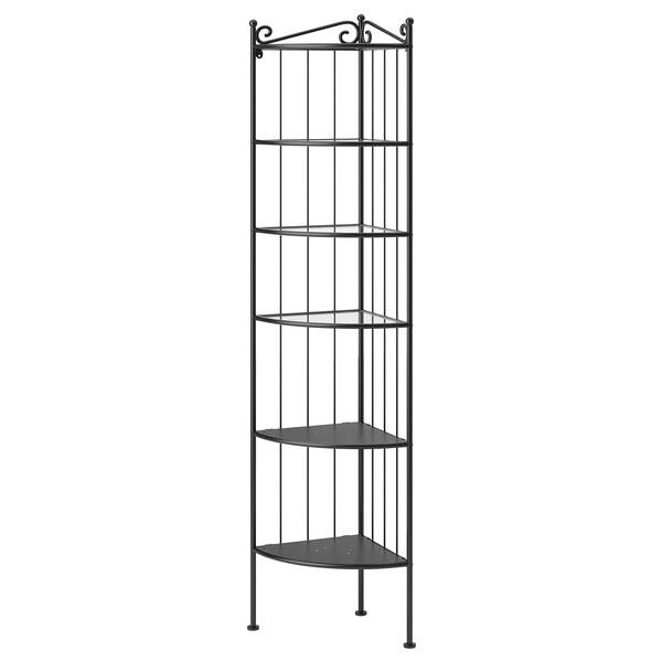 RÖNNSKÄR estantería de esquina, pared negro 37 cm 37 cm 176 cm