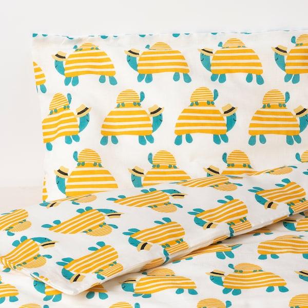 RÖRANDE Funda nórdica +funda almohada cuna, tortuga amarillo, 110x125/35x55 cm