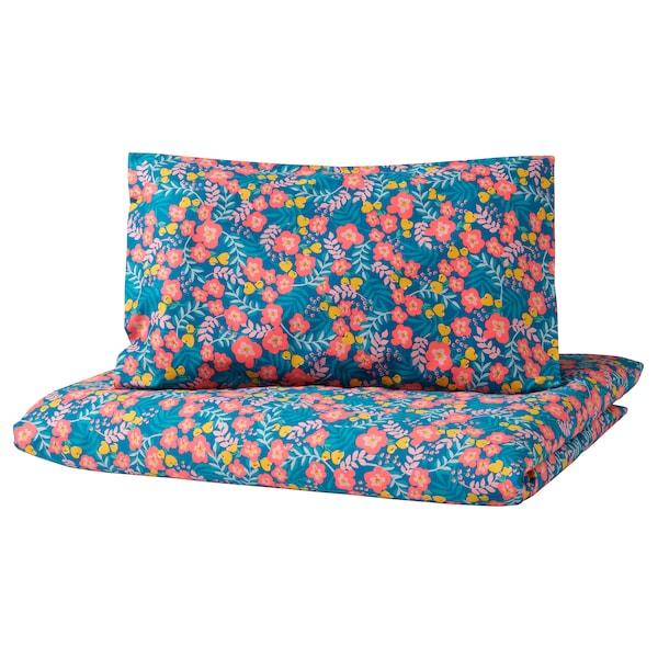 RÖRANDE Ropa de cuna 3 piezas, motivo de flores/azul rosa, 60x120 cm