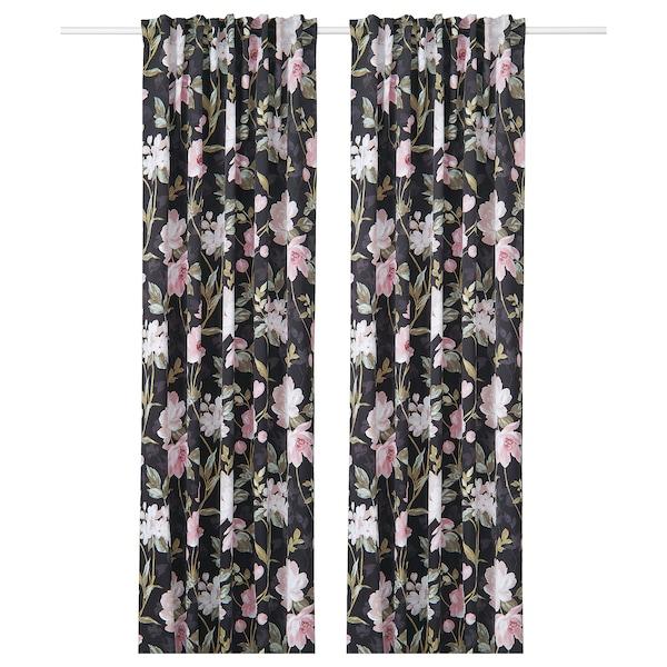 ROSENMOTT Cortinas, par, negro/dibujo con flores, 145x300 cm