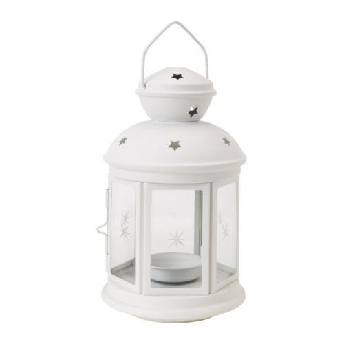 ROTERA - Farolillo para vela pequeña, blanco int/ext blanco, 21 cm.