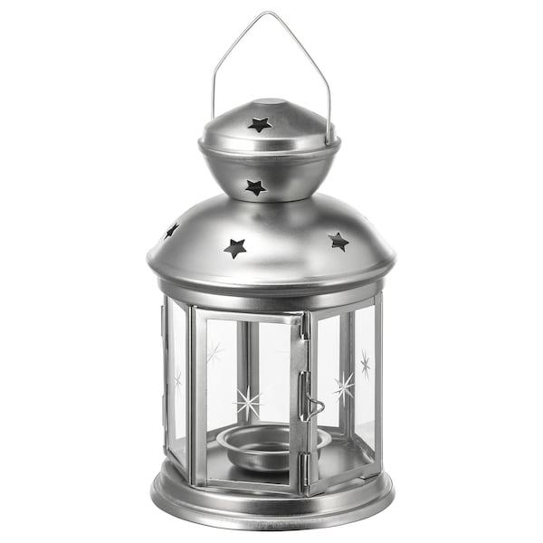 ROTERA Farolillo para vela pequeña, int/ext galvanizado, 21 cm