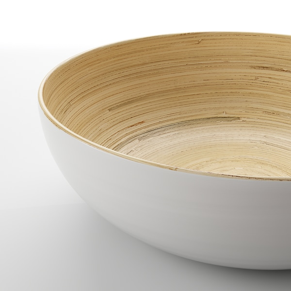 RUNDLIG Bol / ensaladera, bambú/blanco, 30 cm