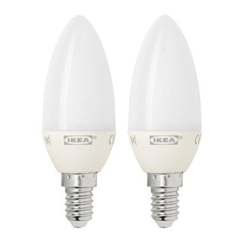 RYET  - LED E14 200 lm, espelma acanalada, blanc òpal, 2 u.