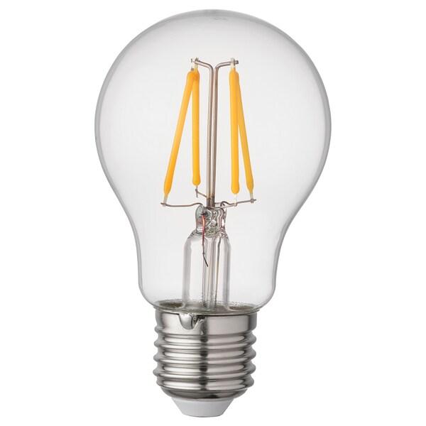 RYET Bombilla LED E27 470 lúmenes, forma de globo transparente