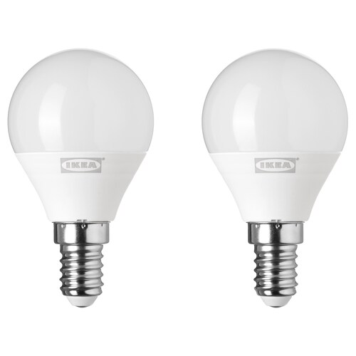 RYET bombilla LED E14 200 lúmenes forma de globo blanco ópalo 200 lm 2 unidades