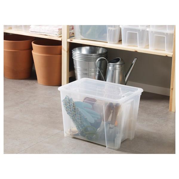 SAMLA Caja con tapa, transparente, 39x28x28 cm/22 l
