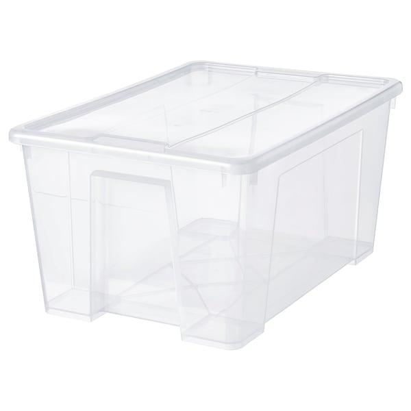 SAMLA Caja con tapa, transparente, 57x39x28 cm/45 l
