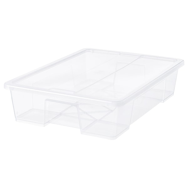 SAMLA Caja con tapa, transparente, 79x57x18 cm/55 l