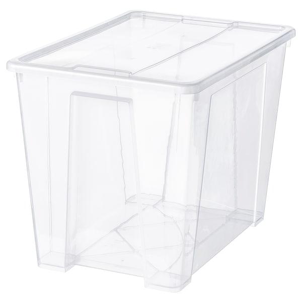SAMLA Caja con tapa, transparente, 57x39x42 cm/65 l