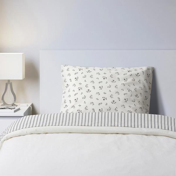 SANDLUPIN Juego de cama, 3 piezas, rayas/dibujo con flores, 90x200 cm