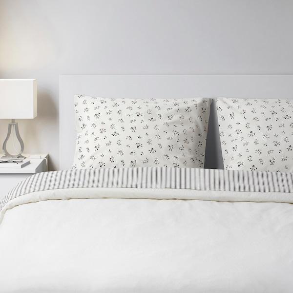 SANDLUPIN Juego de cama 4 p, rayas/dibujo con flores, 140x200 cm
