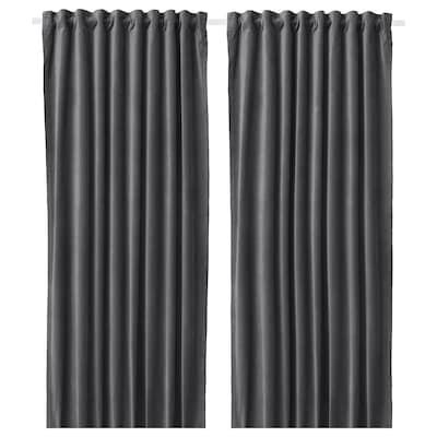 SANELA Cortinas, par, gris oscuro, 140x300 cm