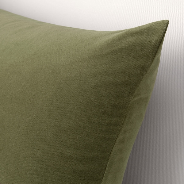SANELA Funda de cojín, verde oliva, 40x65 cm