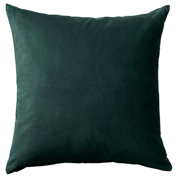SANELA Funda de cojín, verde oscuro, 50x50 cm