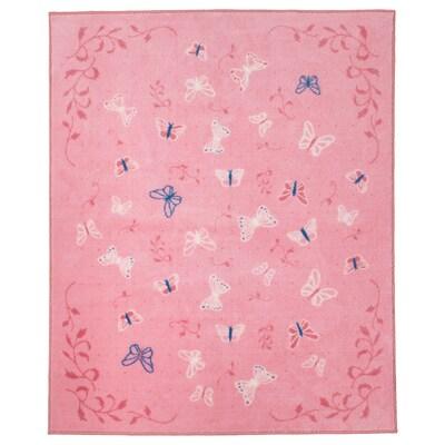 SÅNGLÄRKA Alfombra, mariposa/rosa, 133x160 cm