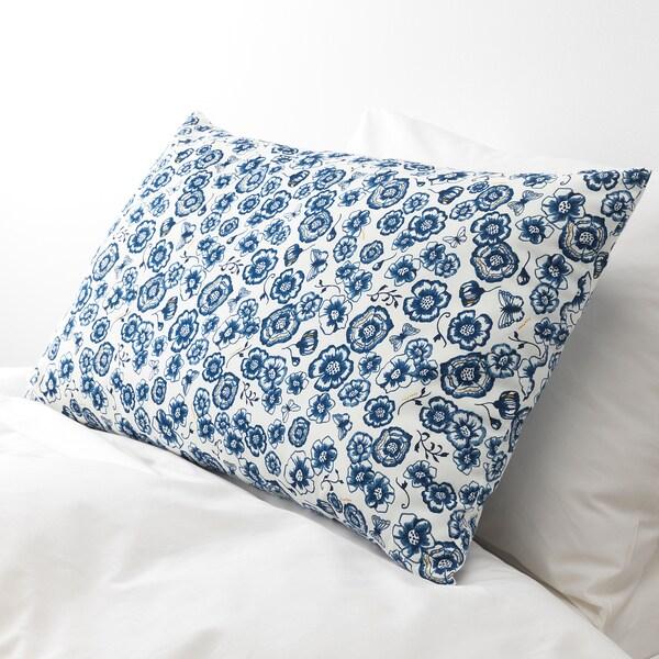 SÅNGLÄRKA Cojín, flor/azul blanco, 65x40 cm
