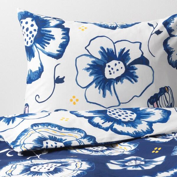 SÅNGLÄRKA Funda nórdica y funda de almohada, flor/azul oscuro blanco, 150x200/50x60 cm