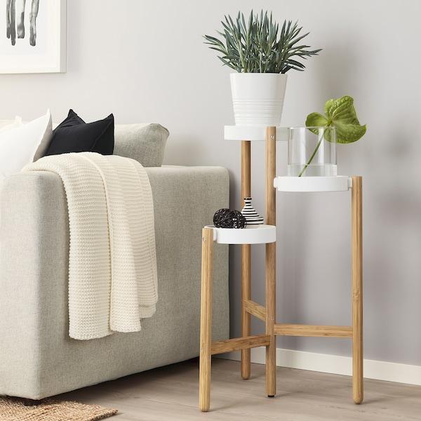 SATSUMAS Soporte p/plantas, bambú/blanco, 78 cm