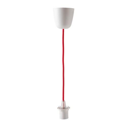 SEKOND Montura para lámpara de techo, rojo textil - IKEA