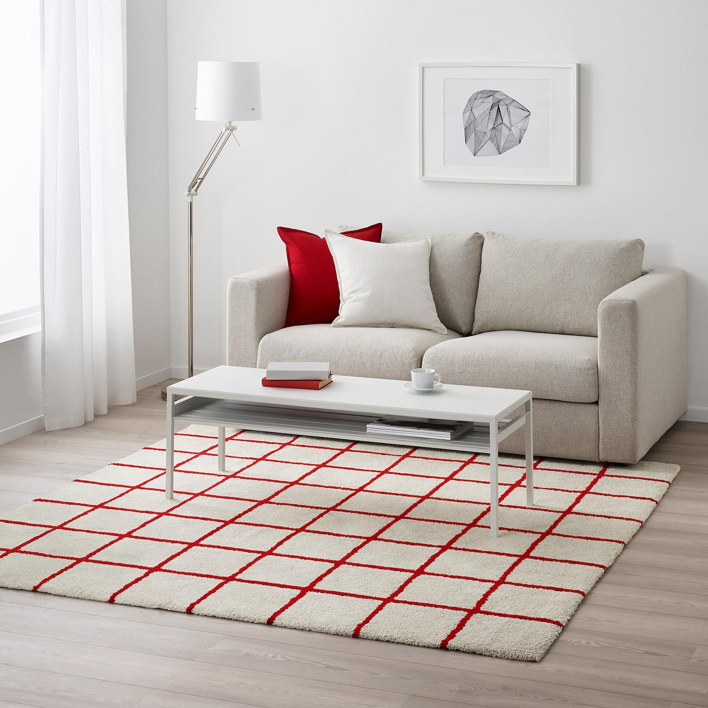SIMESTED Alfombra, pelo largo, blanco, rojo IKEA