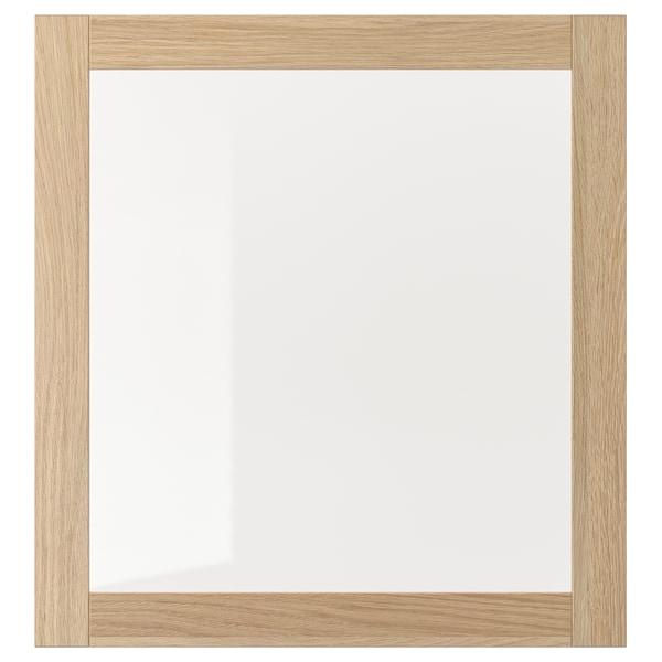 SINDVIK Puerta de vidrio, efecto roble tinte blanco/vidrio incoloro, 60x64 cm