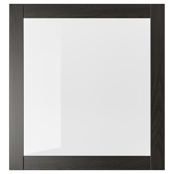 SINDVIK Puerta de vidrio, negro-marrón/vidrio incoloro, 60x64 cm