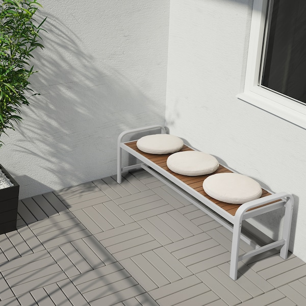 SJÄLLAND Banco jardín gris claro/marrón claro 136 cm 42 cm 52 cm 127 cm 42 cm 43 cm