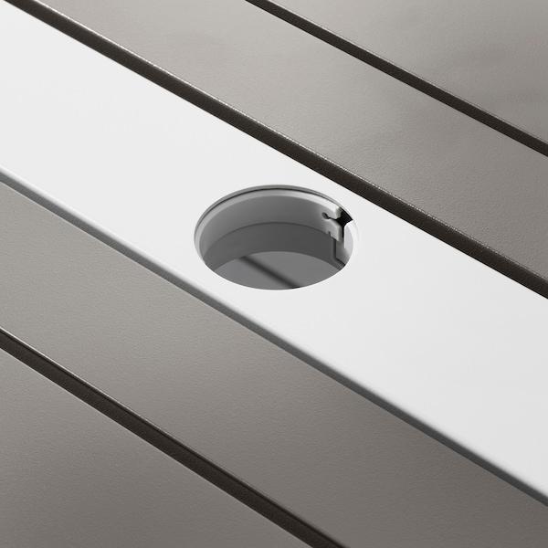 SJÄLLAND Mesa+4sill reposab ext, gris oscuro/gris claro, 156x90 cm