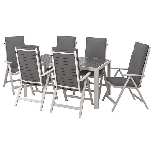 SJÄLLAND Mesa+6 sill reclin ext, gris oscuro/Frösön/Duvholmen gris oscuro, 156x90 cm