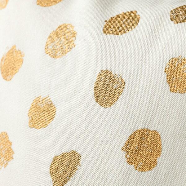 SKÄGGÖRT Funda de cojín, blanco/dorado, 50x50 cm