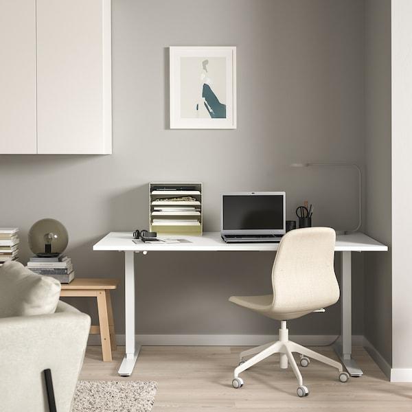 SKARSTA Escritorio sentado/de pie, blanco, 160x80 cm