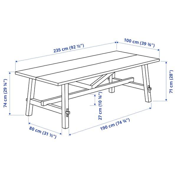 SKOGSTA / BERGMUND Mesa y 6 sillas, acacia/Kolboda beige/gris oscuro, 235x100 cm