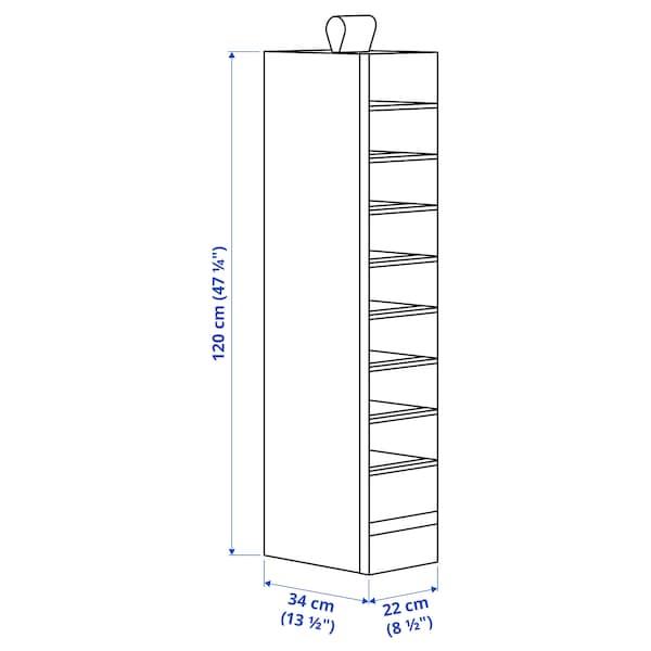 SKUBB Almacenaje con 9 compartimentos, blanco, 22x34x120 cm