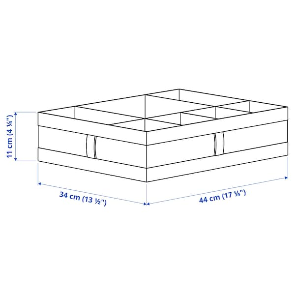 SKUBB Caja con compartimentos, blanco, 44x34x11 cm