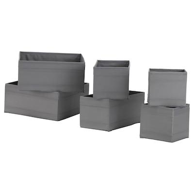 SKUBB Caja, juego de 6, gris oscuro