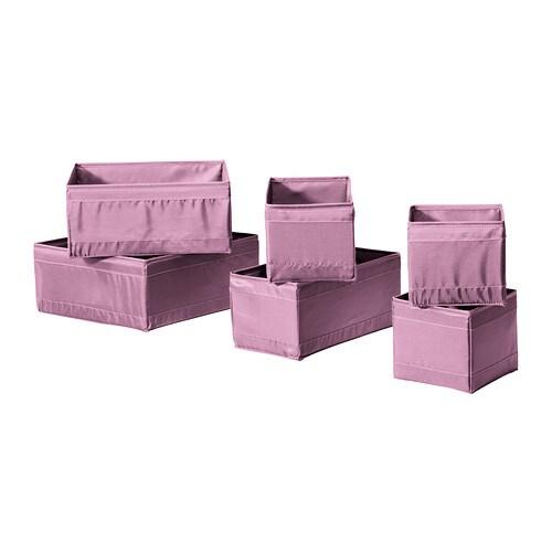 SKUBB Caja, juego de 6 IKEA Te ayuda a tener organizados los calcetines, los cinturones y las joyas en la cómoda o el armario.