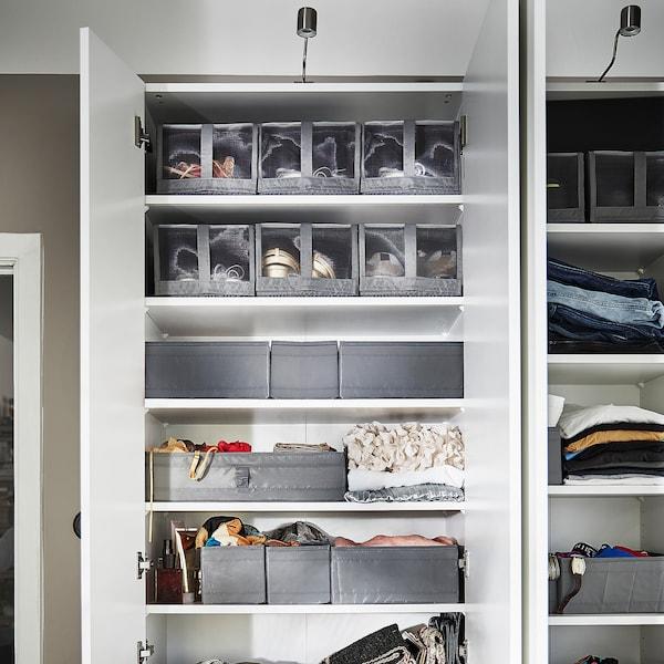 SKUBB Caja para zapatos, gris oscuro, 22x34x16 cm