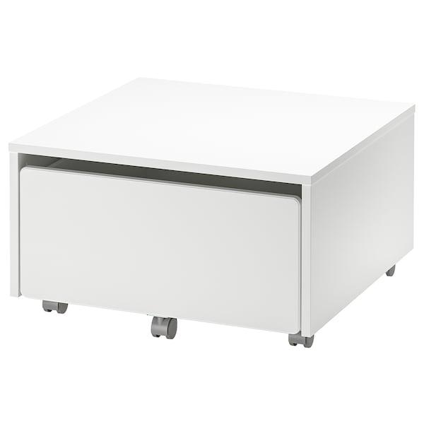 SLÄKT Caja con ruedas, blanco, 62x62x35 cm