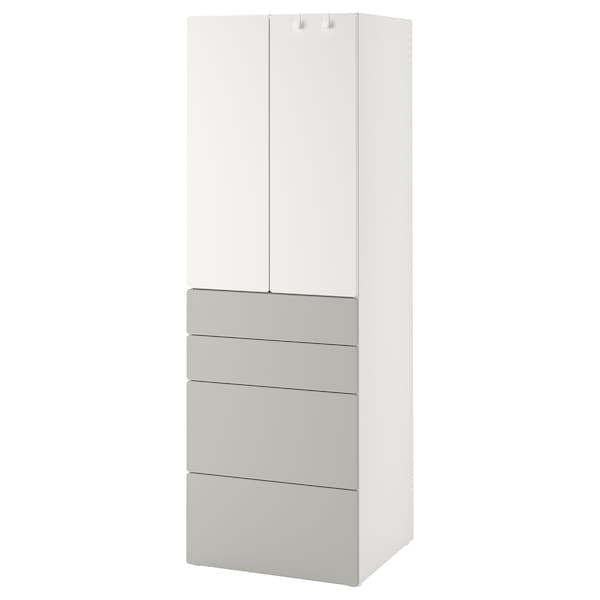 SMÅSTAD Armario, blanco gris/con 4 cajones, 60x57x181 cm