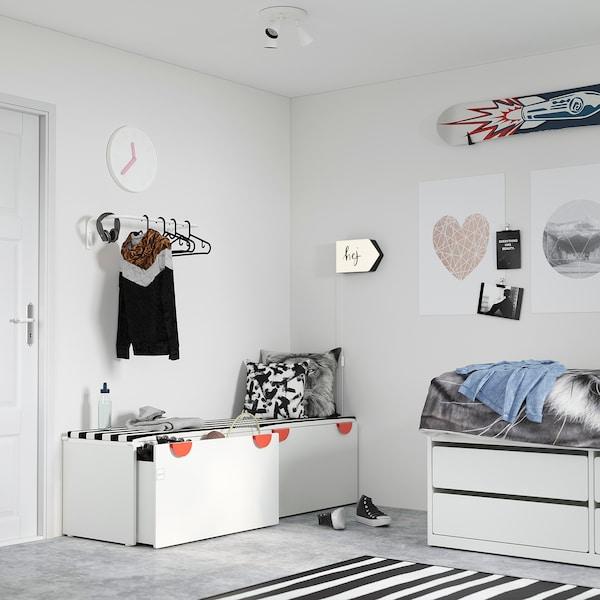 SMÅSTAD Banco con almacenaje juguetes, blanco/blanco, 90x52x48 cm