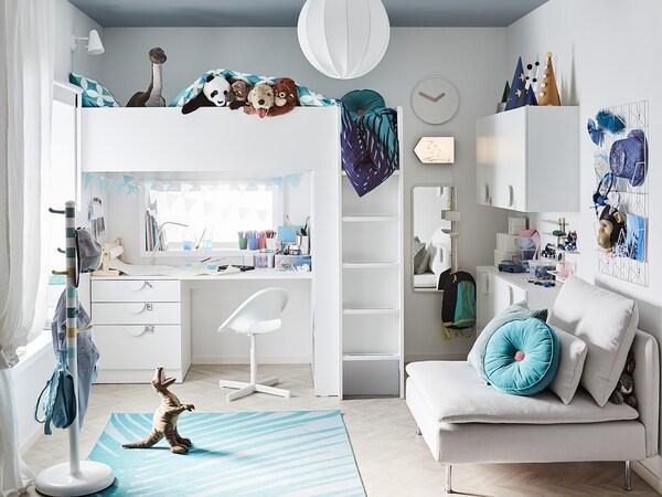 SMÅSTAD Cama alta, blanco abedul/con escritorio con 4 cajones, 90x200 cm
