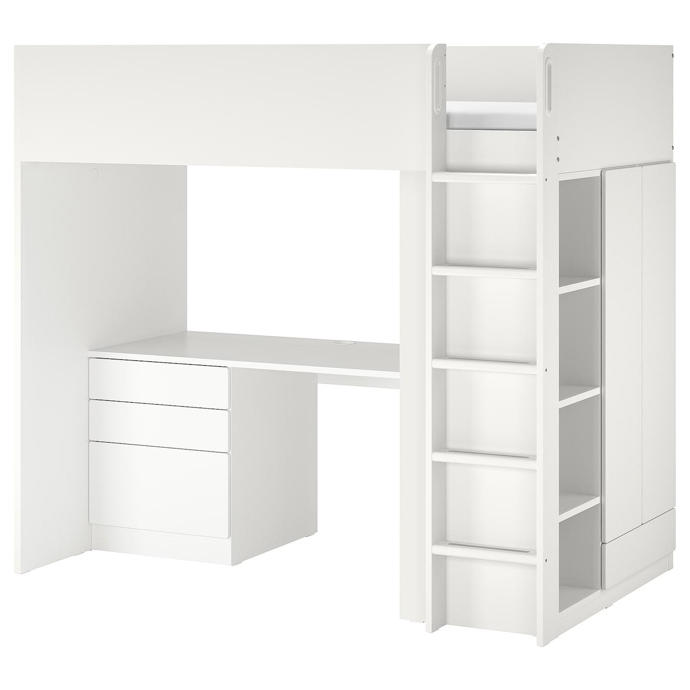 Cama alta, blanco blanco/con escritorio con 4 cajones
