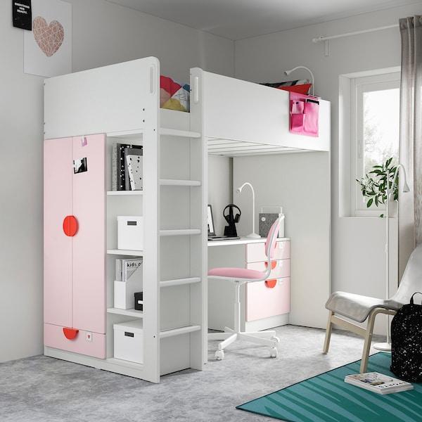 Småstad Cama Alta Blanco Rosa Claro Con Escritorio Con 4 Cajones Ikea