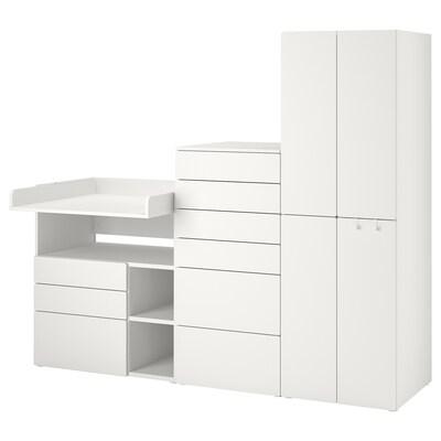 SMÅSTAD / PLATSA Combinación de armario y estantería, blanco blanco/con mesa cambiador, 210x79x180 cm
